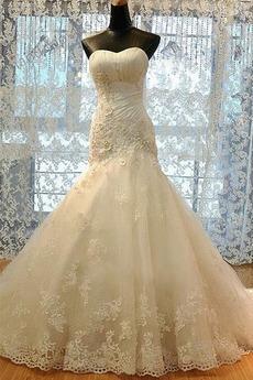 Robe de mariée Bustier Sirène Sans Manches Mode Tissu Dentelle