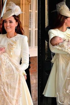 Robe de baptême Longue Exquisite Princesse Col haut Formelle Tissu Dentelle
