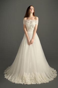 Robe de mariée Hiver Elégant A-ligne Sans Manches Plage Appliques