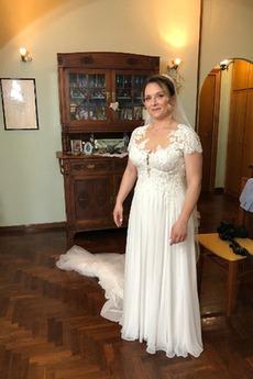 Robe de mariée Épaule Dégagée Longueur ras du Sol Tissu Dentelle Manche Courte