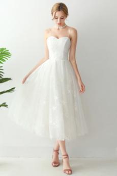 Robe de mariée Simple Dentelle Sans Manches Balançoire Plage Tulle