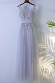 Robe Demoiselle d'Honneur Naturel taille Zip a ligne Elégant Tulle
