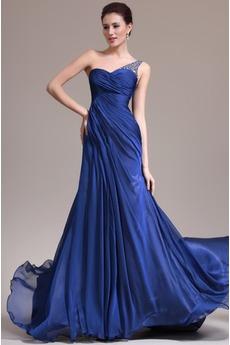 Robe de Soirée Ruché Empire Bleu de minuit Longueur ras du Sol