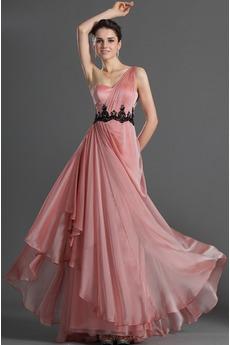 Robe de Soirée Milieu Perle rose Corsage plissé Norme Épaule Asymétrique