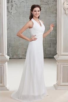 Robe de mariée Plissé Zip A-ligne Chiffon Col en V noble