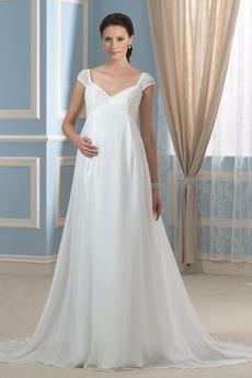 Robe de mariée Empire Mancheron Dos nu Automne Epurée taille haut
