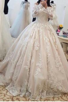 Robe de mariée Vintage Naturel taille Fermeture éclair Traîne Mi-longue