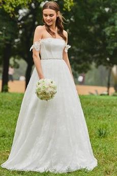 Robe de mariée Dos nu Train de balayage De plein air Elégant Tissu Dentelle