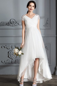 Robe de mariée Perle noble Asymétrique Plage Tulle Fourreau plissé