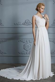 Robe de mariée Sans Manches Sommaire Bouton Manquant Couvert de Dentelle