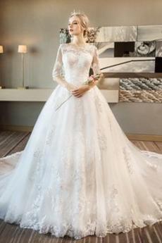 Robe de mariée Lacet Traîne Royal Satin a ligne Col ras du Cou