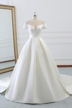 Robe de mariée Chaussez A-ligne Soie Naturel taille Manche Courte