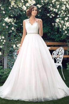 Robe de mariée A-ligne Longue Haut Bas Gaze élancé Formelle
