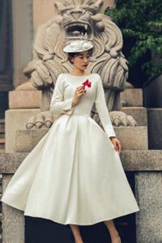 Robe de mariée Simple Manche de T-shirt Plage Col Bateau Longueur Mollet