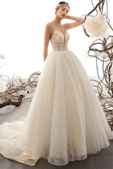 Robe de mariée Tulle Lacet Naturel taille Traîne Moyenne Perle Plage