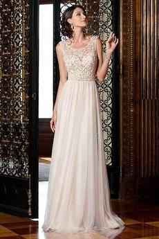 Robe de mariée Maigre Elégant Perle Longueur ras du Sol Naturel taille