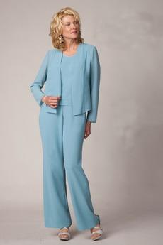 Robe de mère pantalon de costume Longueur Cheville Col ras du Cou