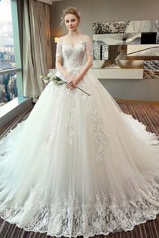 Robe de mariée Eglise Manche Aérienne Lacet Long Automne Formelle