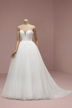 Robe de mariée Simple Au Drapée Glissière Tissu Dentelle A-ligne Traîne Courte
