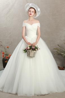 Robe de mariée Simple Manche Courte a ligne Naturel taille Lacet Fourreau plissé