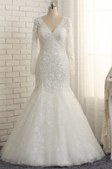 Robe de mariée Sirène Col en V Fourreau Avec Bijoux Naturel taille