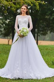 Robe de mariée Manche Longue Glamour Col Bateau Fourreau Avec Bijoux