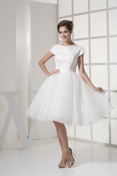 Robe de mariée Haute Couvert Soie Modeste Longueur Genou Princesse