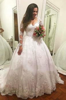 Robe de mariée Été Norme Longue De plein air Couvert de Dentelle