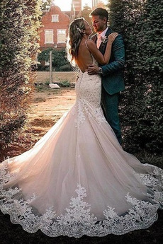 Robe de mariée Sans Manches Perle Col en V Foncé Bretelles Spaghetti