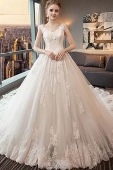 Robe de mariée Appliquer Hiver Longue Couvert de Dentelle Col en V