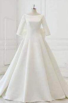 Robe de mariée Traîne Longue Formelle Au Drapée a ligne Manche de T-shirt