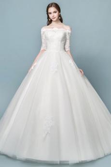 Robe de mariée Elégant Épaule Dégagée Longueur ras du Sol Naturel taille