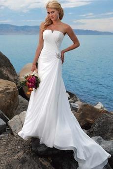 Robe de mariée Fourreau pli À la masse Été A-ligne Zip Plage