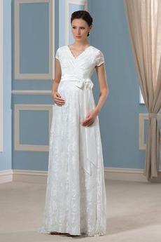 Robe de mariée Manche Courte Simple Tissu Dentelle Longueur ras du Sol