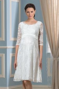 Robe de mariée Orné de Nœud à Boucle Longueur Genou Col U Profond