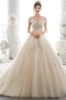 Robe de mariée Traîne Longue Naturel taille aligne Epurée Lacet Dolman Sleeves