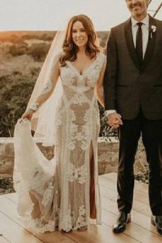 Robe de mariée Elégant Tulle Manche Aérienne aligne Manche Longue