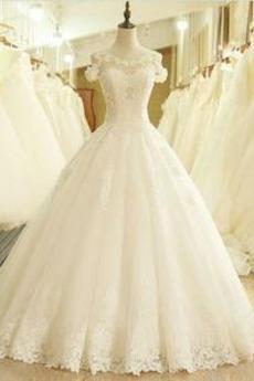 Robe de mariée Formelle Eglise Norme Appliques Longueur ras du Sol