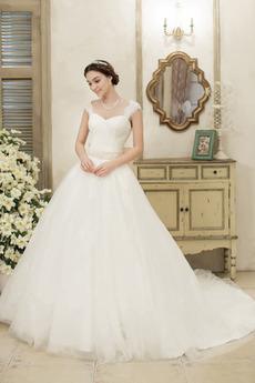 Robe de mariée A-ligne Perler Mancheron Tulle Salle Manche Courte