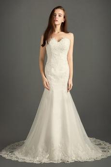 Robe de mariée Tissu Dentelle Hiver Luxueux Sans Manches Naturel taille