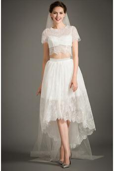 Robe de mariée Manche de T-shirt vogue De plein air Printemps