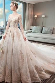 Robe de mariée Couvert de Dentelle Soie Formelle Long A-ligne