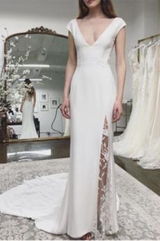 Robe de mariée Dos nu Col en V Exquisite Simple Salle des fêtes Longue