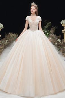 Robe de mariée Médium Formelle Perle Chaussez A-ligne Traîne Moyenne