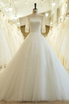 Robe de mariée De plein air noble Tribunal train Printemps Couvert de Dentelle