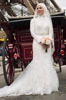 Robe de mariée Manche Longue Col haut Avec voile Haute Couvert