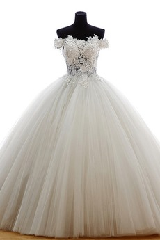 Robe de mariée Tulle Eglise Traîne Courte Formelle Épaule Dégagée