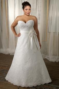 Robe de mariée Orné de Rosette aligne Tissu Dentelle Elégant Cathédrale