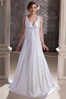 Robe de mariée Longueur au sol Sommaire taille haute Perlé Été