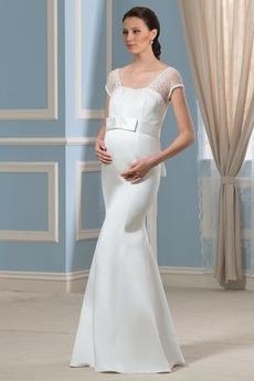 Robe de mariée Dos nu Grossesse Manche Courte Au Drapée Orné de Nœud à Boucle